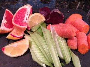 My morning juice. Grapefruit, lemon, beets, celery, and carrots.